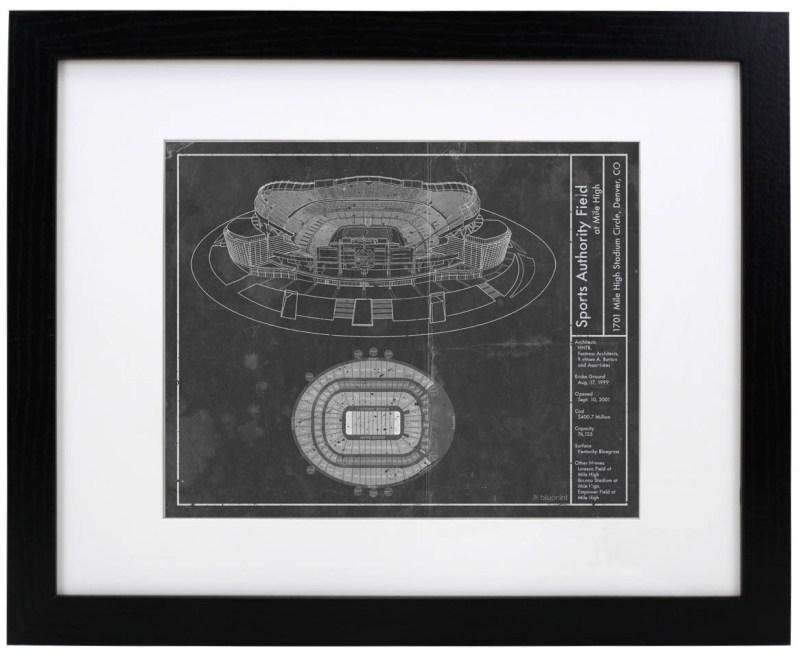 Sports Authority Field Mile High vintagr blurprint