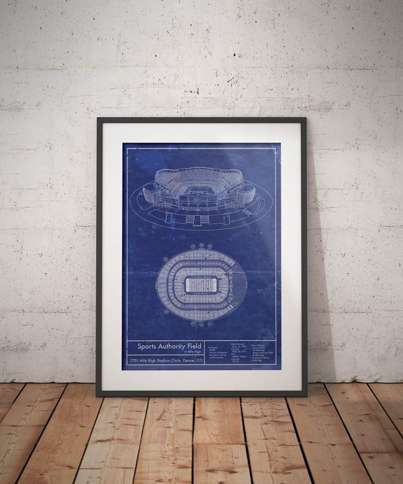 Sports Authority Field Mile High vintagr blurprint poster