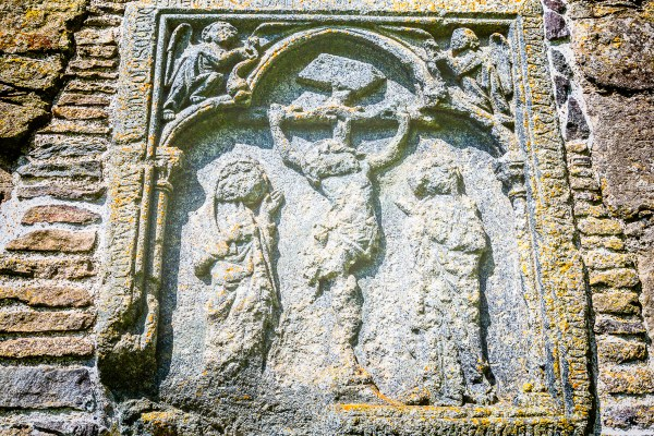 This medieval relief is on a wall at Magnus Cathedral, Kirkjubøur, Faroe Islands.