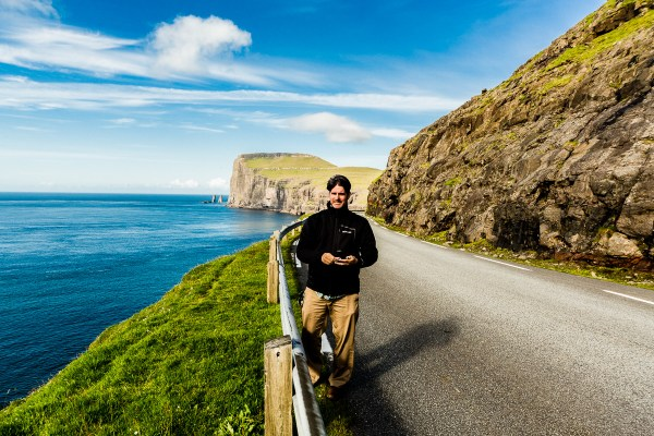 Matthew Workman on the road above Tjørnuvík, Faroe Islands, July 15, 2014 by Jon Armstrong for Blurbomat.com.