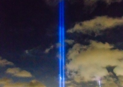 9/11 Tribute for 2014. The Freedom Tower is on the right. The height of the lights are hard to grasp until you see it in person. | shot by Jon Armstrong for Blurbomat.com
