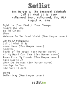 Ben Harper and the Innocent Criminals at the Hollywood Bowl 8/19/16. Setlist.