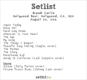 Brandi Carlile at The Hollywood Bowl 8/20/16. Setlist.