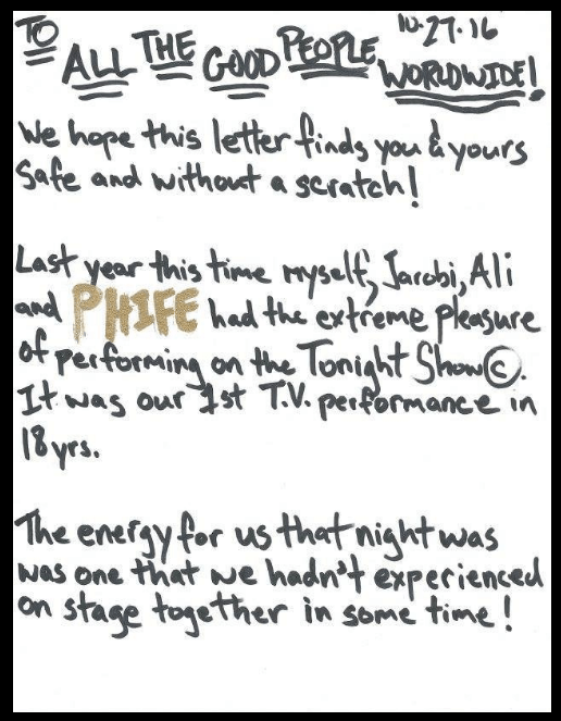 Handwritten Letter by Q-Tip announcing new A Tribe Called Quest Ablum.