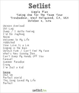 Simple Plan @ Troubadour 10/5/16. Setlist.