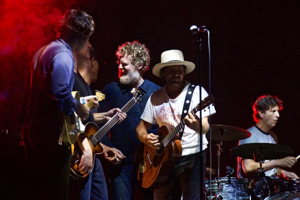 Glen Hansard & Eddie Vedder w/ Jack Johnson @ The Ohana Fest 9/10/17. Photo by Derrick K. Lee, Esq. (@Methodman13) for www.BlurredCulture.com.