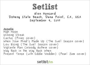 Glen Hansard @ The Ohana Fest 9/9/17. Setlist.