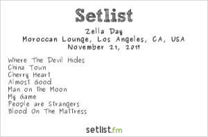 Zella Day at Moroccan Lounge 11/21/17. Setlist.