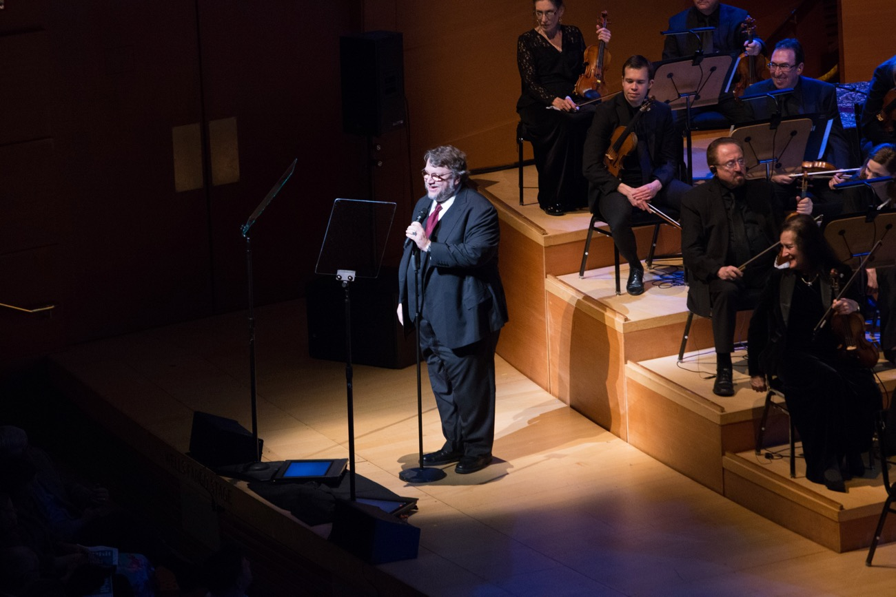 """Director Guillermo Del Toro during """"The Oscar Concert"""" presented by the Academy of Motion Picture Arts and Sciences on Thursday, February 28, at the Walt Disney Concert Hall in Los Angeles. The Oscars® will be presented on Sunday, March 4, 2018, at the Dolby Theatre® in Hollywood, CA and televised live by the ABC Television Network. Photo by Paul Hebert/ (C) A.M.P.A.S. Used with permission."""