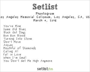 Phantogram @ Air + Style 3/4/18. Setlist.