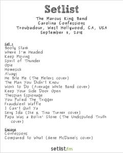 The Marcus King Band @ The Troubadour 9/5/18. Setlist.