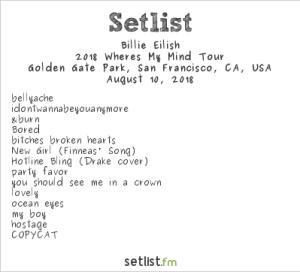 Billie Eilish @ Outside Lands Music And Arts Festival 8/10/18. Setlist.