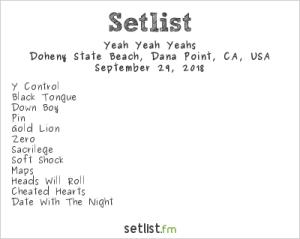 Yeah Yeah Yeahs @ The Ohana Fest 9/29/18. Setlist.