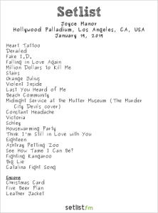 Joyce Manor @ The Palladium 1/19/19. Setlist.