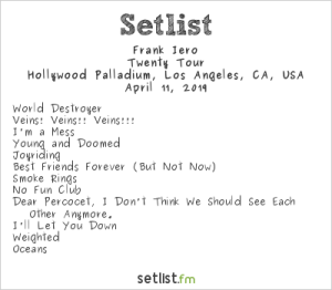 Frank Iero and the Future Violents @ Hollywood Palladium 4/11/19. Setlist.
