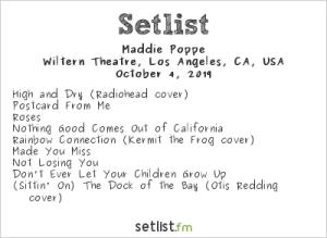 Maddie Poppe @ The Wiltern 10/4/19. Setlist.