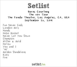 Barns Courtney @ The Fonda 9/27/19. Setlist.