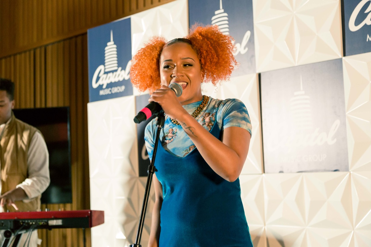 Motown Musician Accelerator Happy Hour (performer is named Charity) at Capitol Royale @ Capitol Records 11/16/19. Photo by Amber Sterling. Used with permission.
