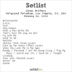 Jonas Brothers @ Hollywood Palladium 1/25/20. Setlist.