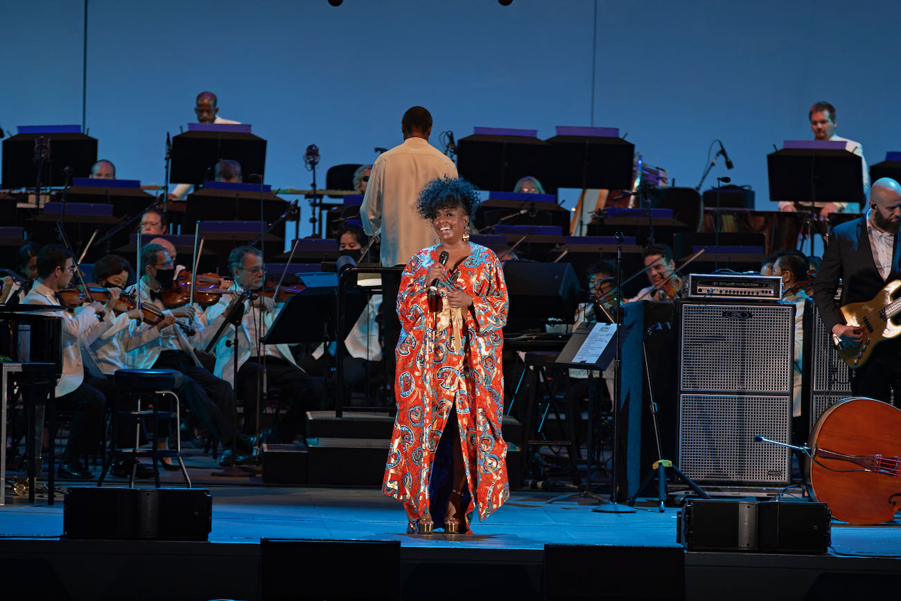 Ledisi with the Los Angeles Philharmonic conducted by Thomas Wilkins @ Hollywood Bowl 7/24/21. Photo by Ron Young on behalf of Ledisi. Used with permission.
