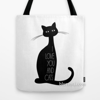 I love you and cats tote bag