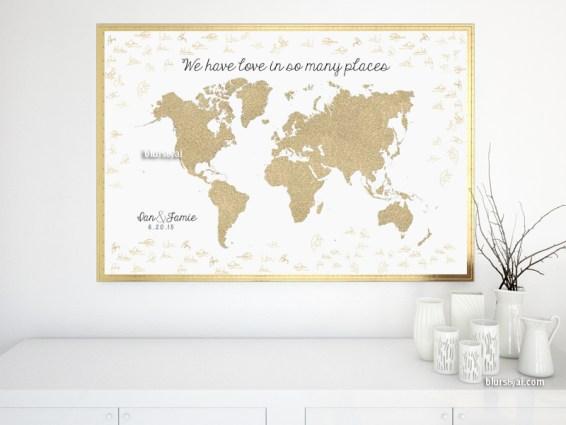 Wedding guestbook alternative - signable world map