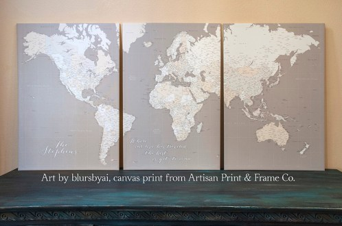 multi panel light earth tones personalized world map detailed