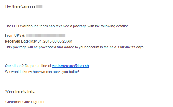 Email confirmation from LBC Shipping Cart | Blushing Geek