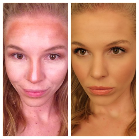 Left- Me with the Morphe Cream Contour Palette mapped out Right- Everything blended in