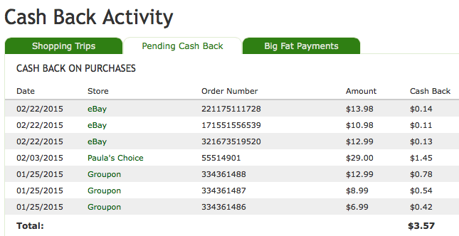Cash back from shopping through Ebates