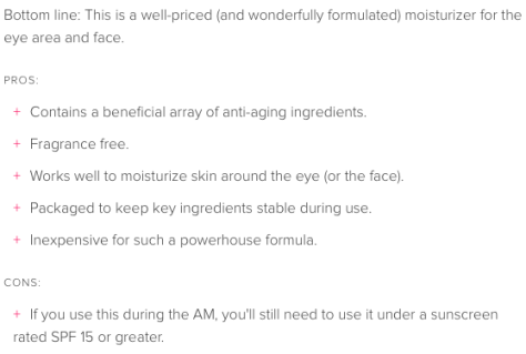 Summary of the CeraVe Eye Repair Cream review from Beautypedia.com