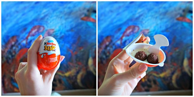 More snacks with the room's mural in the background