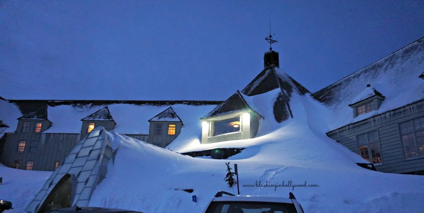 Timberline Lodge after the sun went down, look at all that snow!