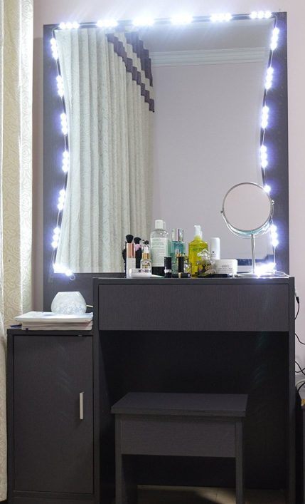 DIY Vanity Lighted Mirror using LED lights from Amazon