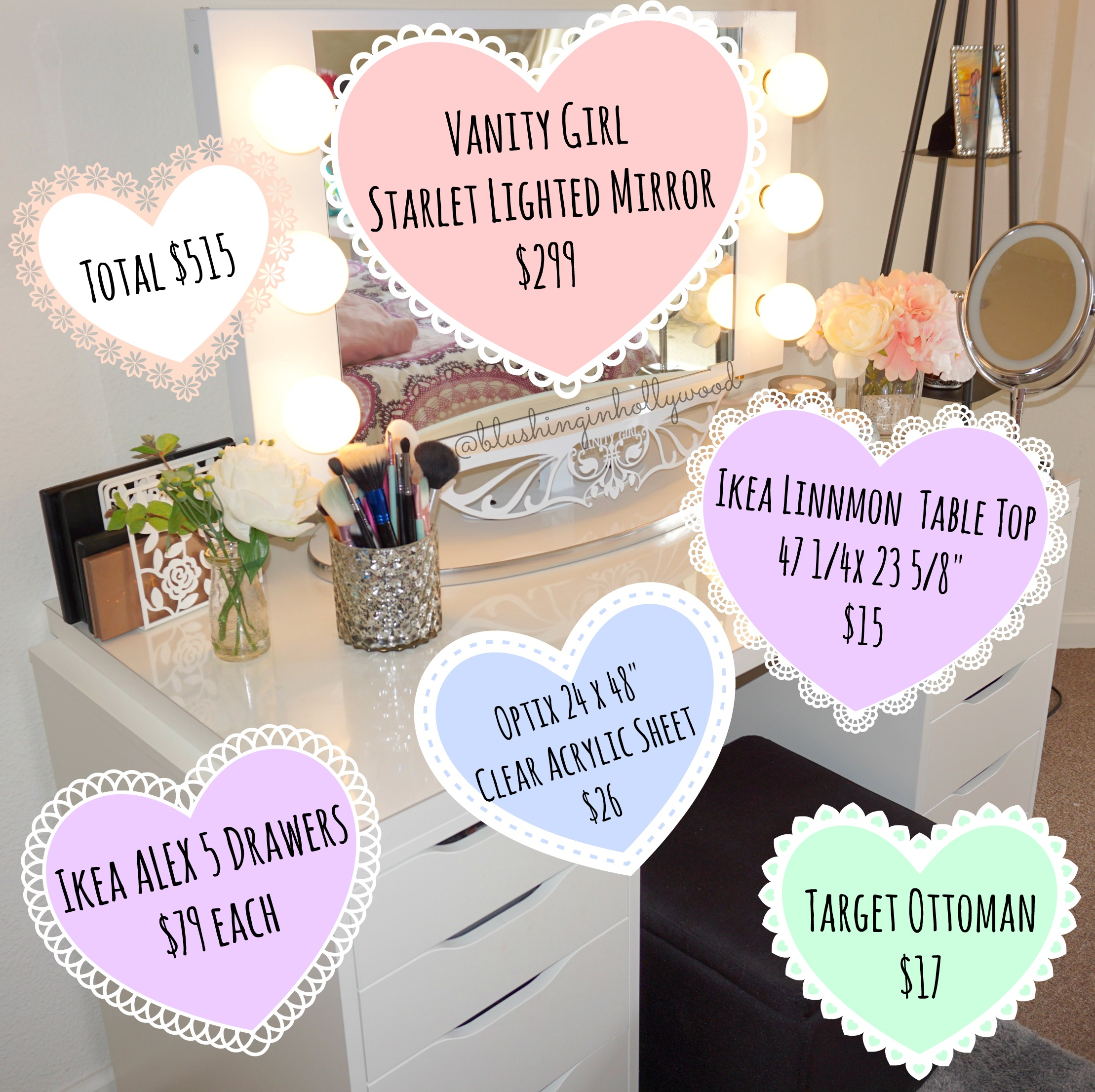 IKEA Alex Vanity Using A Vanity Girl Hollywood Starlet Lighted Mirror, Two  IKEA Alex 5 Drawers, IKEA Linnmon Table Top, Clear Acrylic Sheet To Protect  The ...