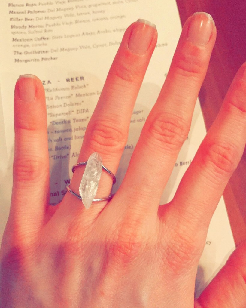Clear quartz crystal ring from Cary Lane in San Francisco