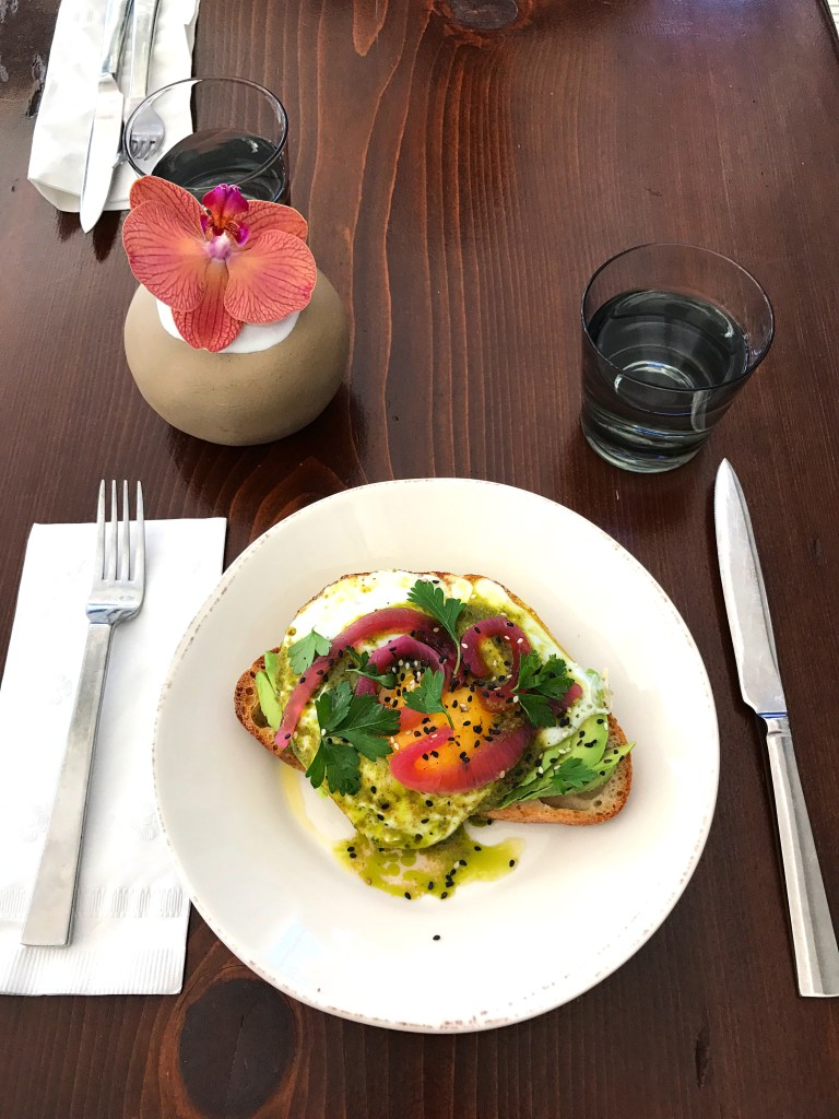Avocado and egg toast from Bodega in San Francisco