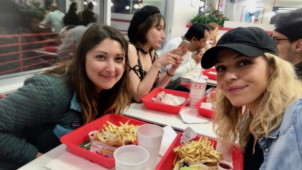 Melissa and I Eating In n Out in Hollywood