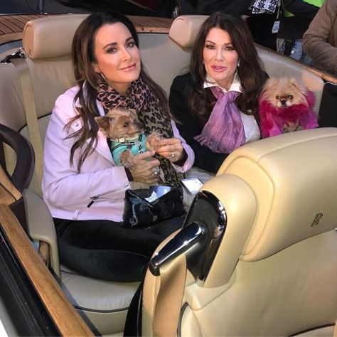 Kyle Richards with her Real Housewives of Beverly Hills co-star Lisa Vanderpump riding around Beverly Hills in a Rolls Royce. Photo from @glambypamelab on Instagram