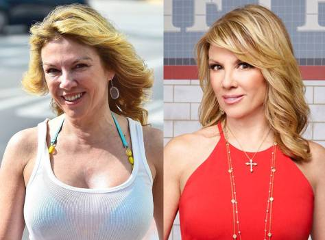 Ramona Singer from Real Housewives of New York City with and without makeup.
