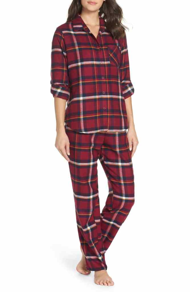Make + Mode Girlfriend Pajamas in Burgandy Berry Annie Plaid