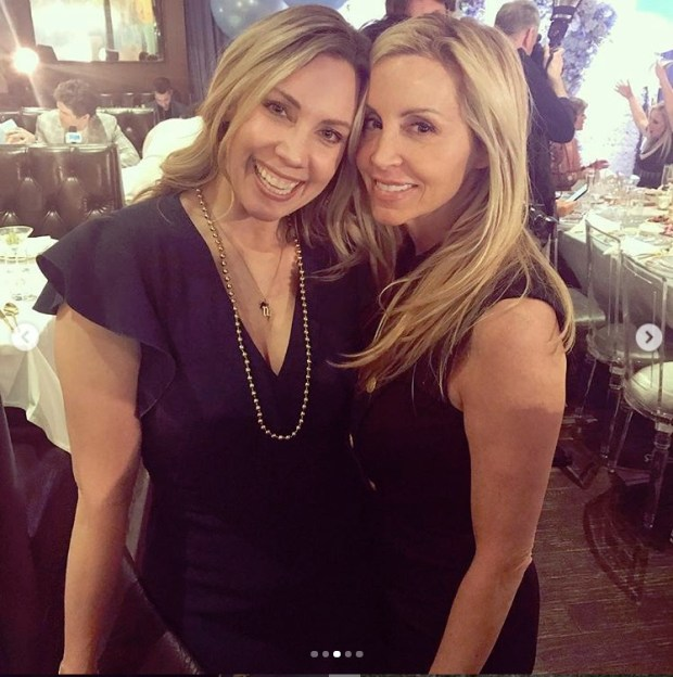 Amy Phillips and Camille Grammer Meyer at Andy Cohen's baby shower
