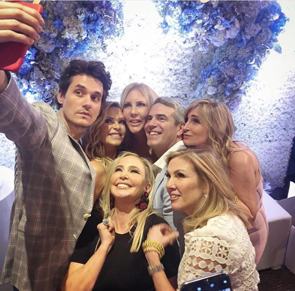 John Mayer takes a selfie with Real Housewives at Andy Cohen's baby shower