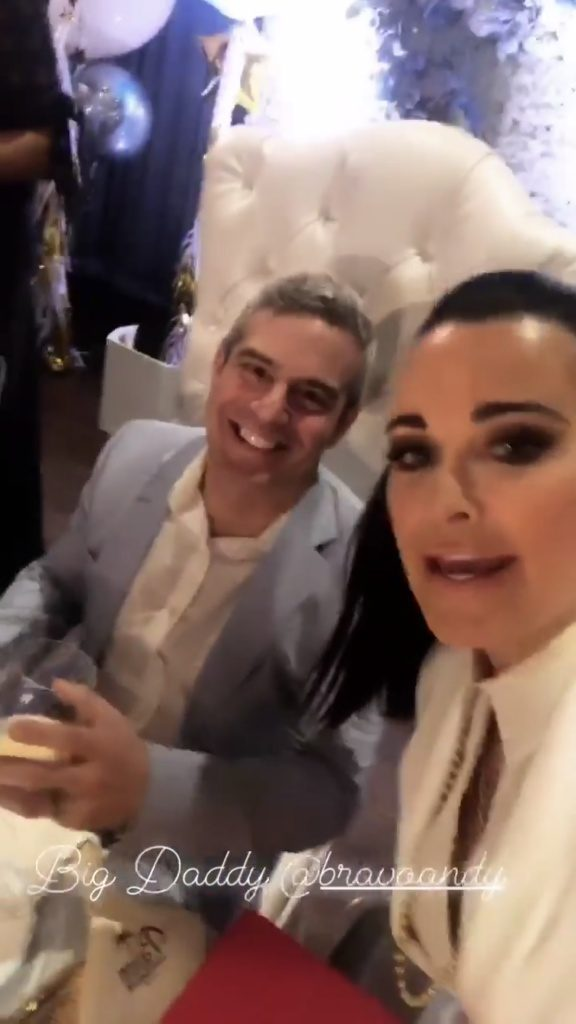 Andy Cohen and Real Housewives of Beverly Hills Kyle Richards at Andy Cohens baby shower at The Palm