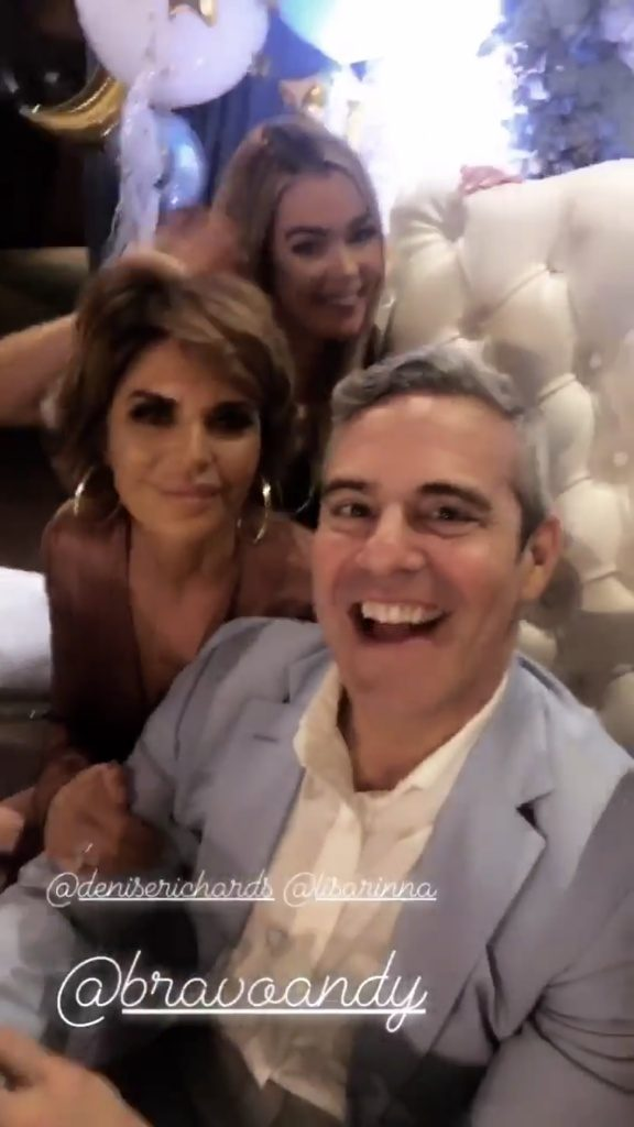 Screenshot of new housewife Denise Richards, Lisa Rinna and Andy Cohen at his baby shower at The Palm in Beverly Hills