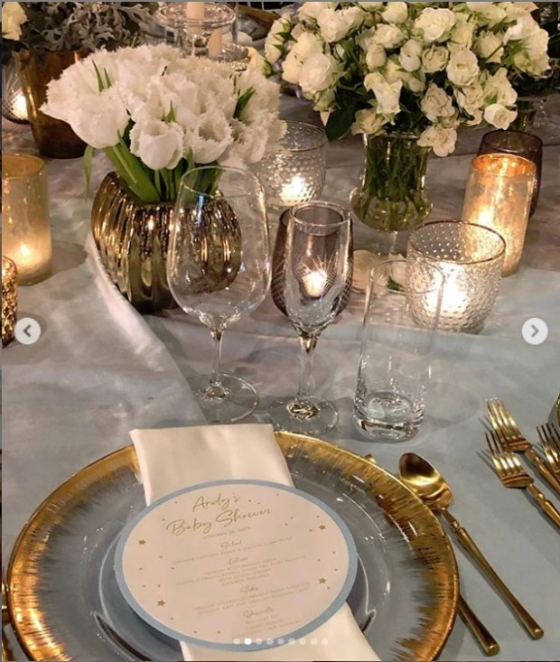 Table setting at Andy Cohen's A Star is Born Themed Baby Shower posted by Kyle Richards on Instagram