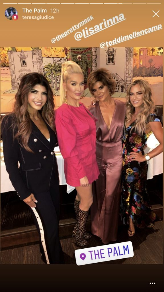 Teresa Giudice, Erika Jayne, Lisa Rinna, and Teddi Mellencamp Arroyo at The Palm for Andy Cohen's Baby Shower
