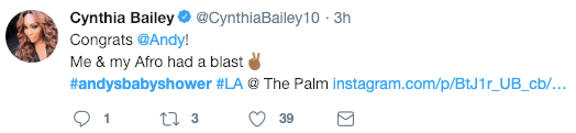 cynthia bailey tweet about Andy Cohen's baby shower