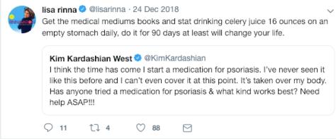 Lisa Rinna told Kim Kardashian West to try celery juice to treat her psoriasis
