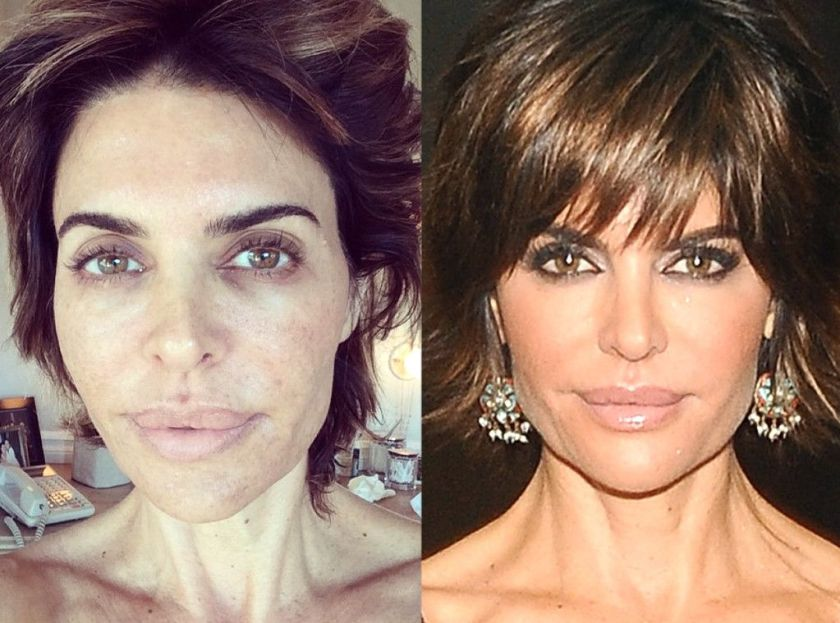 Lisa Rinna without vs. with makeup. Beautiful both ways!